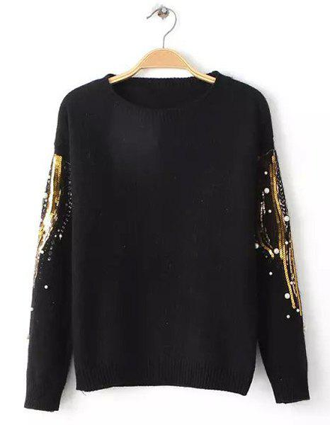 Stylish Sequin Embellished Round Neck Long Sleeve Sweater For Women - BLACK ONE SIZE(FIT SIZE XS TO M)