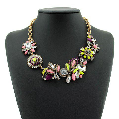 Stylish Chic Women's Beads Colored Flower Design Necklace - PINK