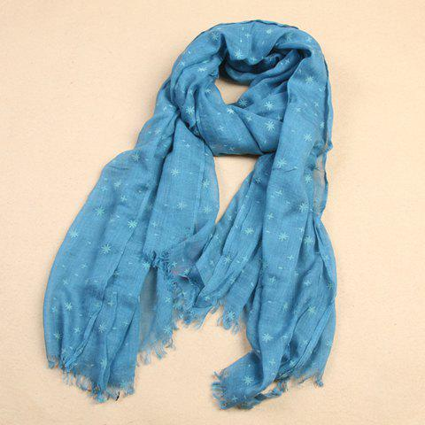 Delicate Fringe Decorated Starry Sky Pattern Scarf For Women - BLUE
