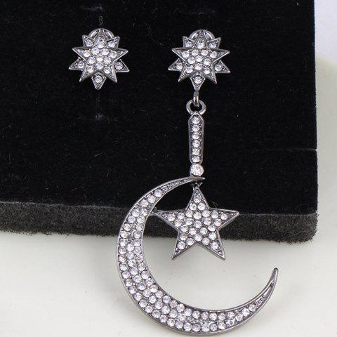 Pair of Tempting Rhinestone Embellished Irregular Shape Women's Earrings - GUN METAL