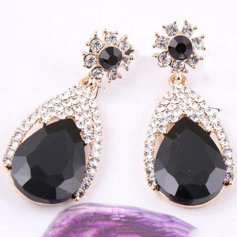 Pair of Rhinestone Embellished Waterdrop Shape Drop Earrings - BLACK