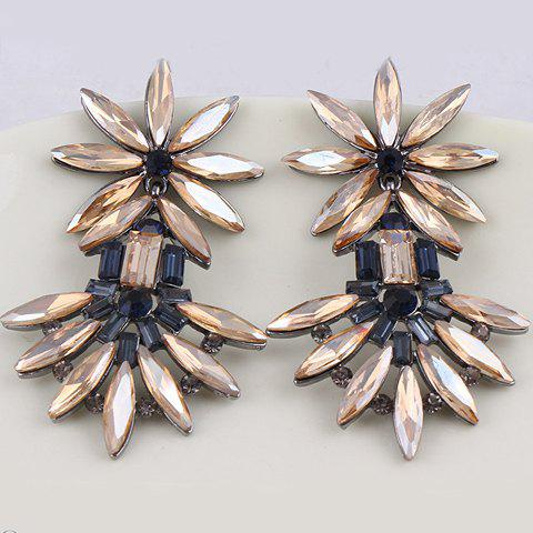 Pair of Chaste Solid Color Faux Gem Embellished Earrings For Women - COLOR ASSORTED
