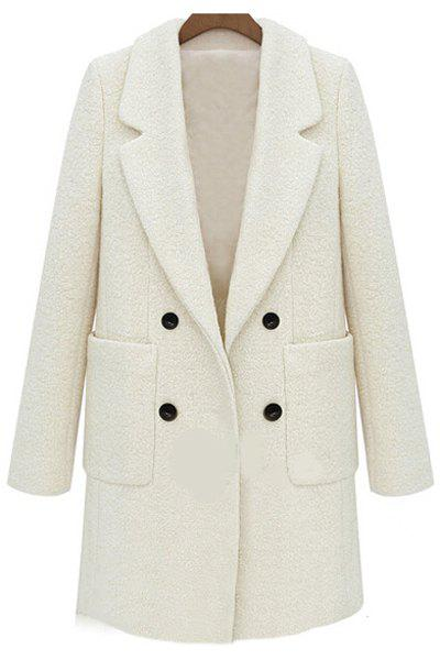 Stylish Lapel Neck Long Sleeves Double-Breasted Solid Color Worsted Women's Coat - OFF WHITE XL