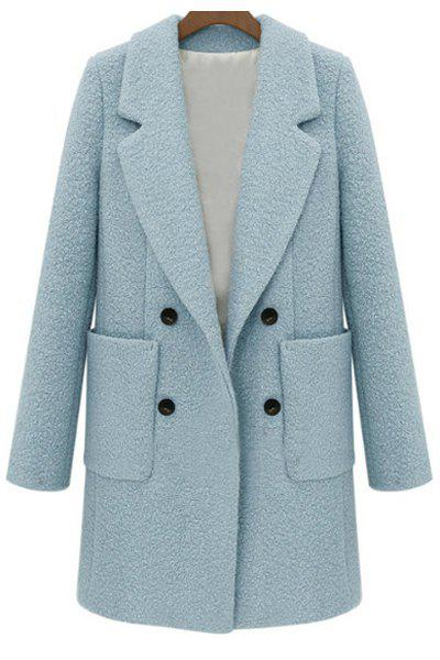 Stylish Lapel Neck Long Sleeves Double-Breasted Solid Color Worsted Women's Coat - LIGHT BLUE L