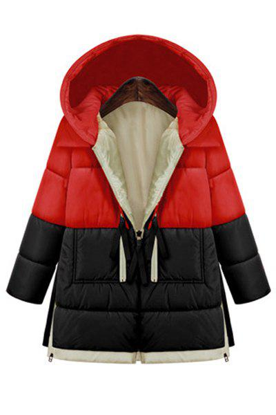 Fashionable Hooded Long Sleeve Color Block Zipper Design Women's Coat fashionable color block bus pattern soft cotton hooded towels