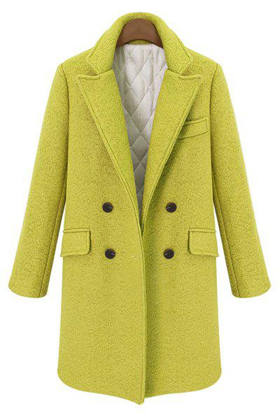 Stylish Long Sleeves Double-Breasted Lapel Neck Solid Color Worsted Women's Coat, Yellow