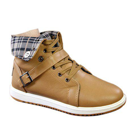 Preppy Plaid and Buckle Design Boots For Men