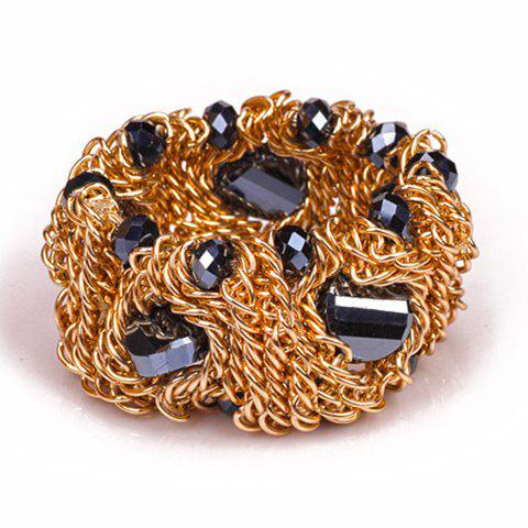 Laconic Solid Color Faux Gem Embellished Women's Bracelet - BLACK/GOLDEN