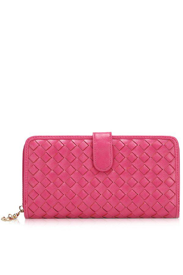 Trendy Checked and Weaving Design Women's Wallet - ROSE MADDER