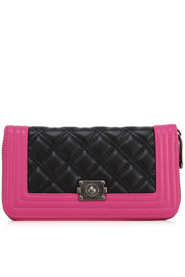 Elegant Color Block and Checked Design Women's Wallet - ROSE MADDER