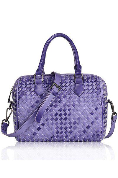 Retro Checked and Weaving Design Women's Tote Bag - PURPLE