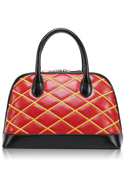 Trendy Color Block and Checked Design Women's Tote Bag - RED