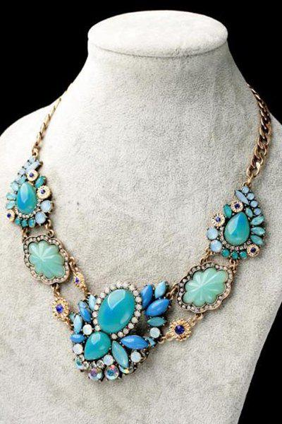 Faux Gem Embellished Flower Necklace - AS THE PICTURE