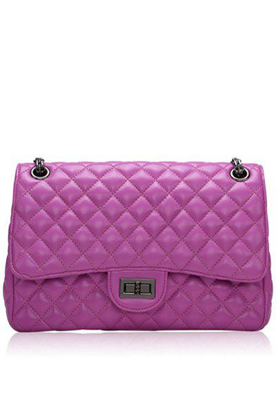 Stylish Chain and Checked Design Women's Shoulder Bag - DEEP PURPLE
