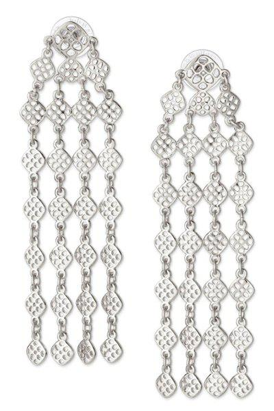 Pair of Tassel Embellished Earrings - SILVER