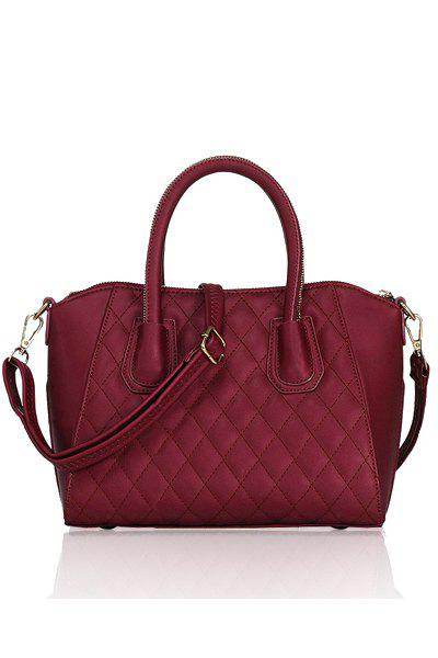 Stylish Solid Color and Checked Design Women's Tote Bag
