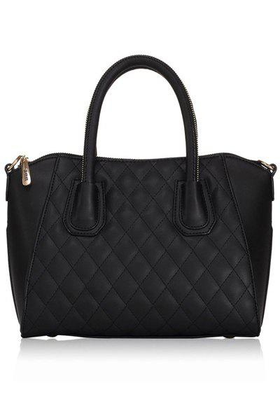 Stylish Solid Color and Checked Design Women's Tote Bag - BLACK