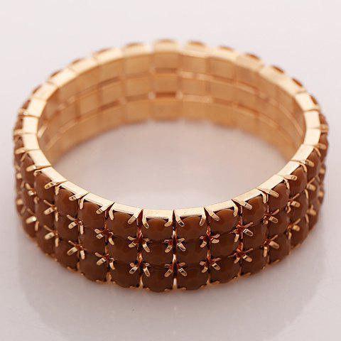 Stylish Retro Women's Layered Rhinestone Inlaid Design Bracelet - GOLDEN