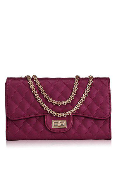Elegant Chain and Checked Design Women's Shoulder Bag - WINE RED