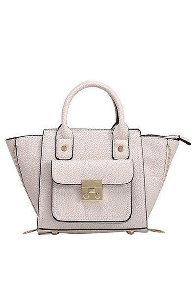 Stylish Rivets and Hasp Design Women's Tote Bag - WHITE