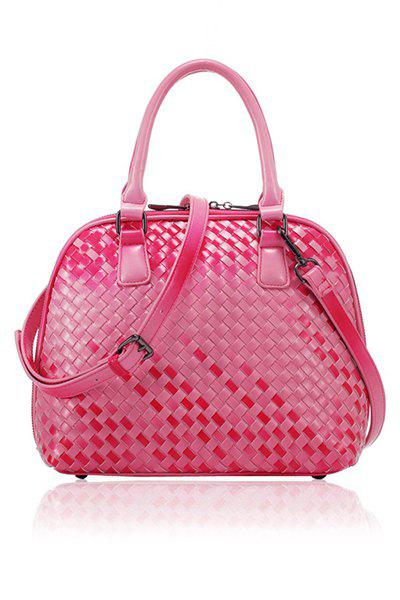 Stylish Weaving and Checked Design Women's Tote Bag - RED