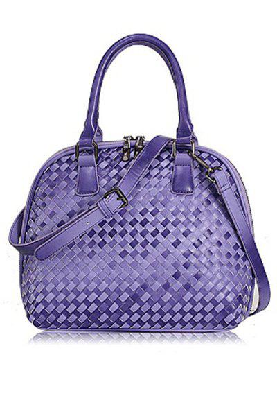 Stylish Weaving and Checked Design Women's Tote Bag - PURPLE