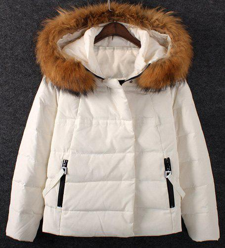 Sweet Hooded Candy Color Long Sleeve Down Coat For Women - WHITE 2XL