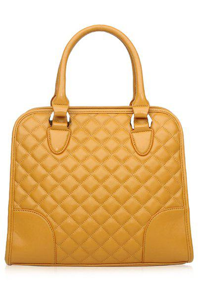 Elegant Splice and Checked Design Women's Tote Bag - YELLOW