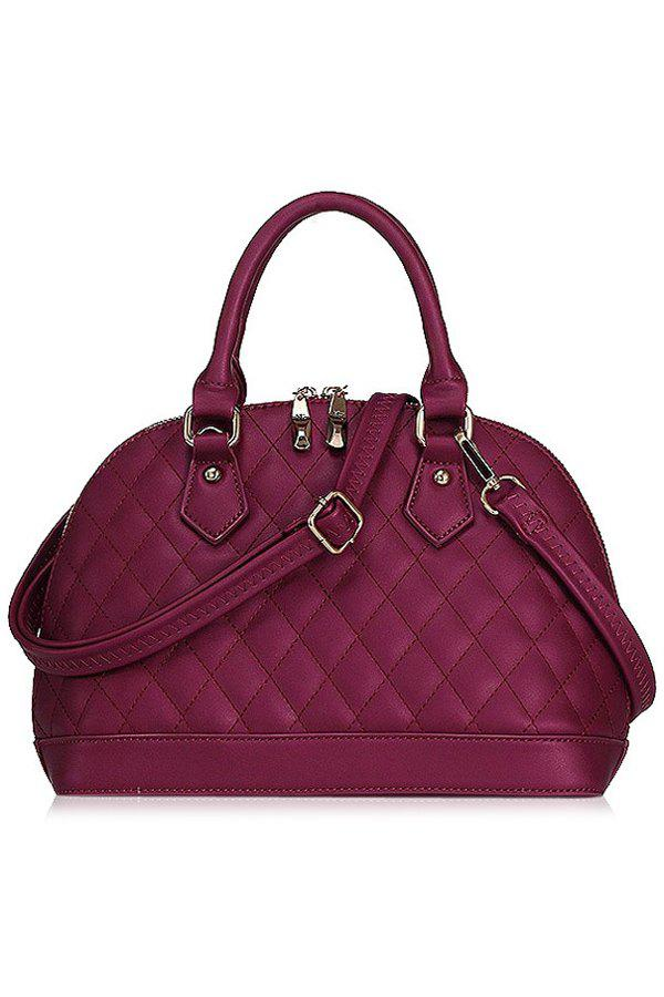 Elegant PU Leather and Checked Design Women's Tote Bag - WINE RED