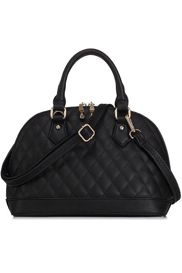 Elegant PU Leather and Checked Design Women's Tote Bag - BLACK