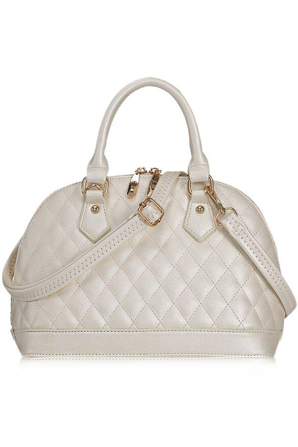 Elegant PU Leather and Checked Design Women's Tote Bag - WHITE