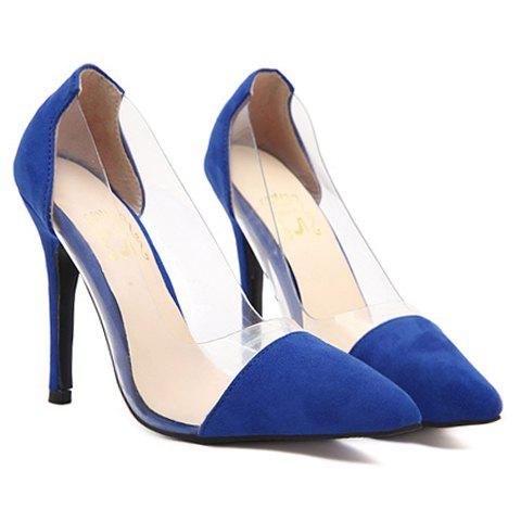 Trendy Pointed Toe and Transparent Design Pumps For Women - BLUE 38