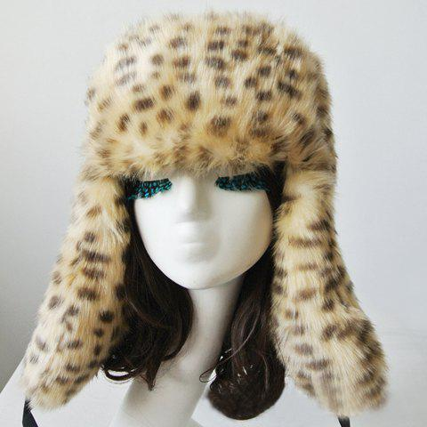 Chic Faux Fur and Ribbons Decorated Leopard Pattern Women's Trapper Hat - LEOPARD