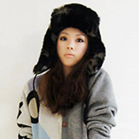 Chic Fluffy Fluff and Ribbons Decorated Women's Trapper Hat - BLACK