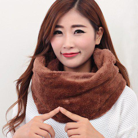 Chic Plush Texture Solid Color Soft  Women's Neck Warmer - BROWN