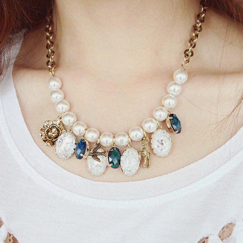 Luxurious Faux Gem and Faux Pearl Embellished Pendant Women's Necklace - COLOR ASSORTED