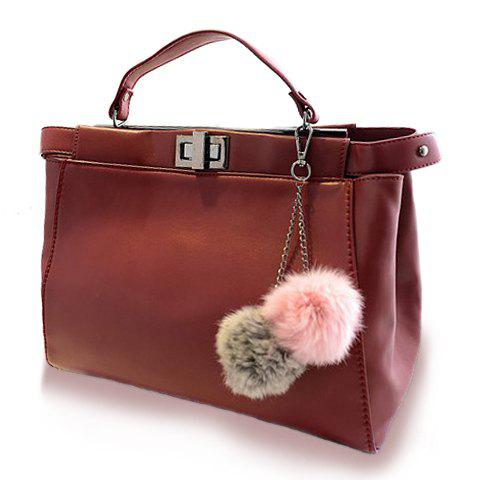 Trendy Solid Color and Balls Pendant Design Women's Tote Bag - RED