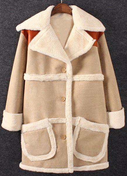 Graceful PU Leather Splicing Turn-Down Collar Long Sleeve Coat For Women - KHAKI S