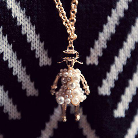 Charming Women's Faux Pearl Embellished Human Shape Sweater Chain Necklace - COLORMIX