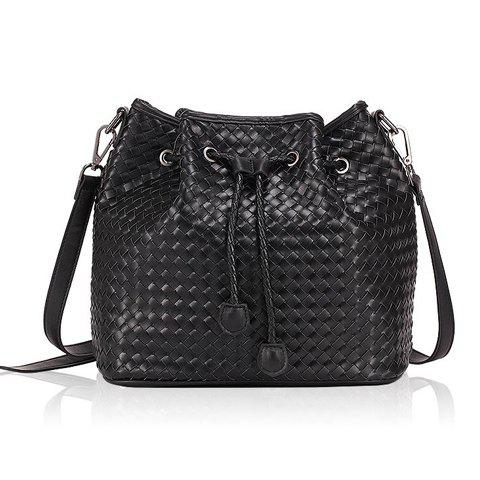 Fashionable Black and Weaving Design Shoulder Bag For Women