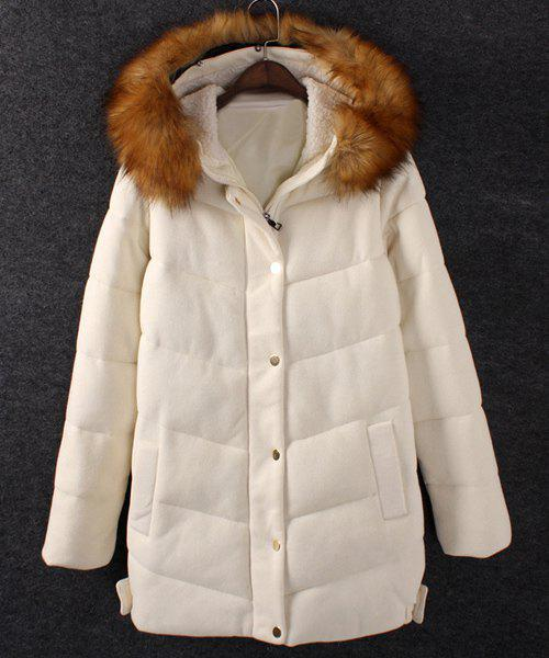 Solid Color Faux Fur Casual Style Hooded Long Sleeve Coat For Women - OFF WHITE 2XL