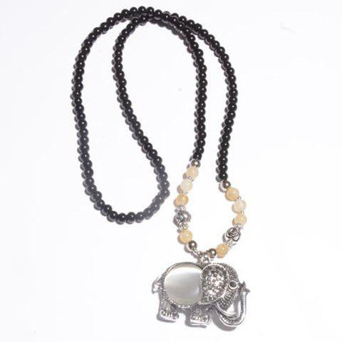 Charming Women's Beads Embellished Elephant Pendant Sweater Chain Necklace - COLORMIX