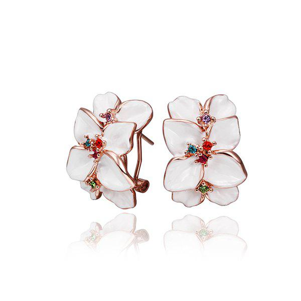 Charming Pair Of Women's  White Flower Clip Earrings