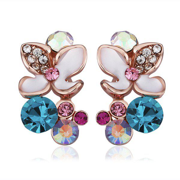 Pair Of Women's Elegant Colorful Flowers Stud Earrings