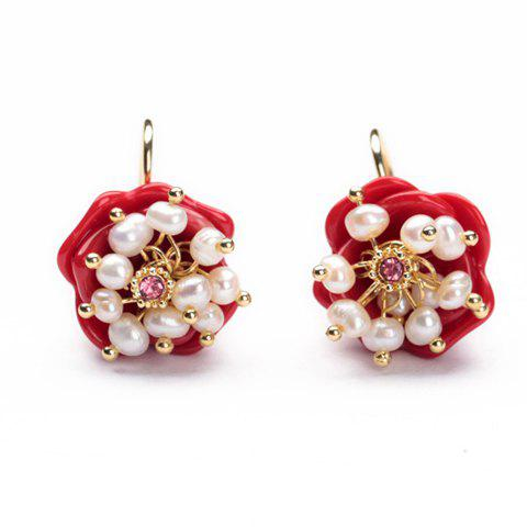 Pair of Charming Women's Faux Pearl Embellished Rose Shape Earrings - RED