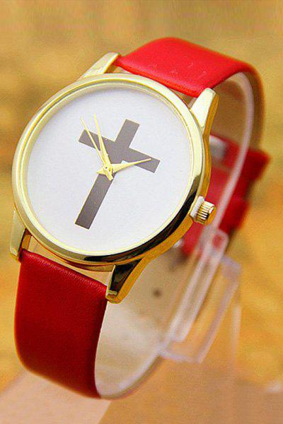 Vintage PU Leather Cross Pattern Watch For Women - RED