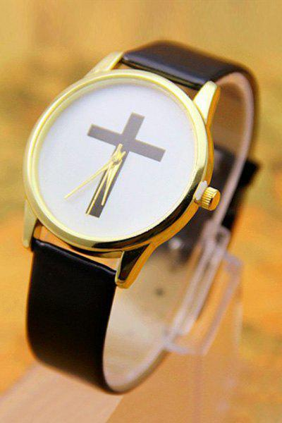 Vintage PU Leather Cross Pattern Watch For Women - BLACK