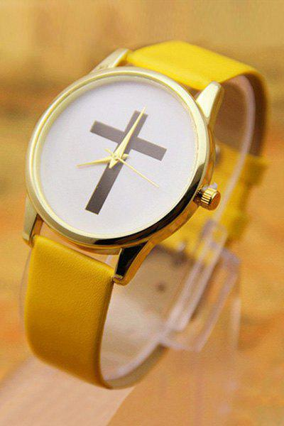 Vintage PU Leather Cross Pattern Watch For Women - YELLOW