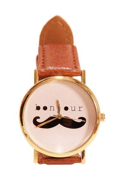 Retro Style Mustache Letter Pattern Watch For Women