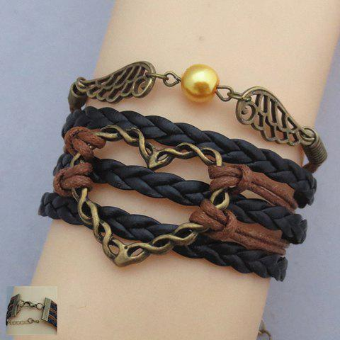 Braided Faux Pearl Wings Chain Design Friendship Bracelet - COLORMIX